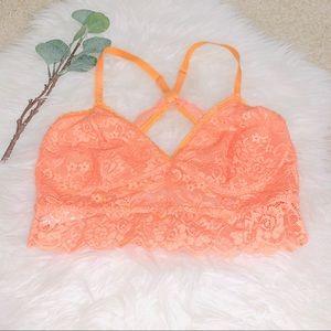 Xhilaration orange lace racerback bralette